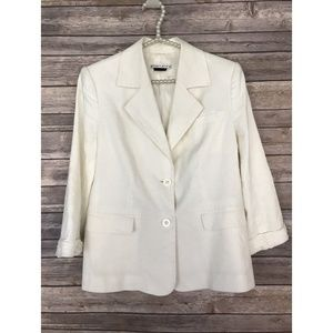 Alice + Olivia Blazer Jacket M White Linen Silk